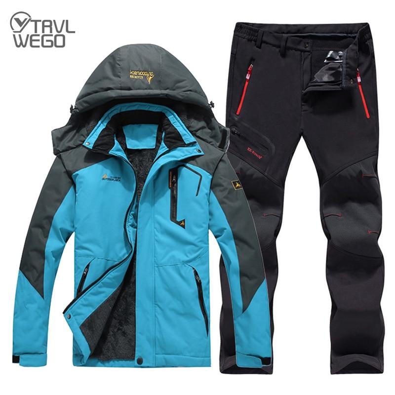 TRVLWEGO Men Winter Travel Waterproof Fishing Thermal Pant Trekking Hiking Camping Skiing Climbing Outdoor Jackets Set 6XL Suit