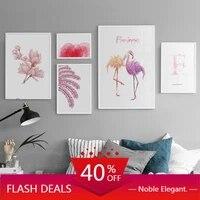 Peinture sur toile de noel  fleurs roses  flamand rose  lettres de mode moderne  affiche dart mural nordique  images pour chambre denfants  decor de maison