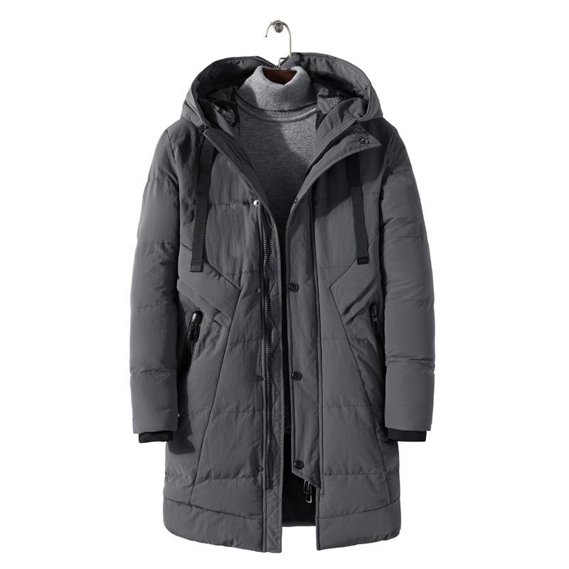Зимняя новая Молодежная мужская куртка с капюшоном, длинная Корейская Толстая Теплая мужская хлопковая куртка