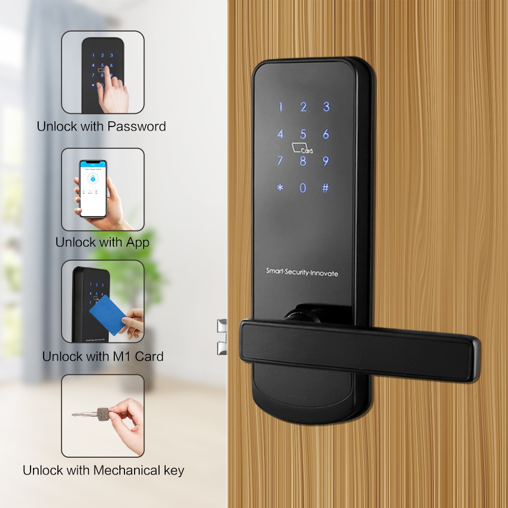 Promo TTlock Bluetooth WiFi Smart Electronic Door Lock Keypad Smart Door Lock For Home Airbnb House Apartment with App Remote Control