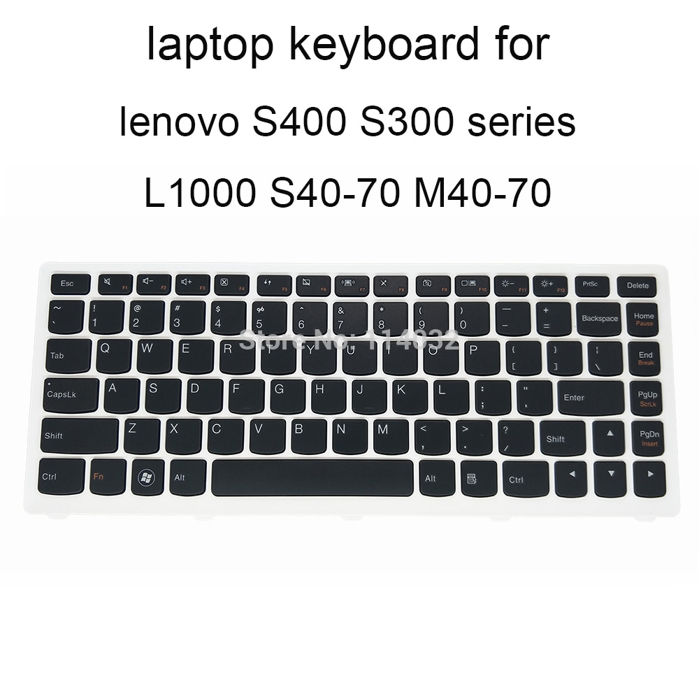laptop keyboard for lenovo S400 S405 S410 S415 S300 S305 US English black with white frame keyboards
