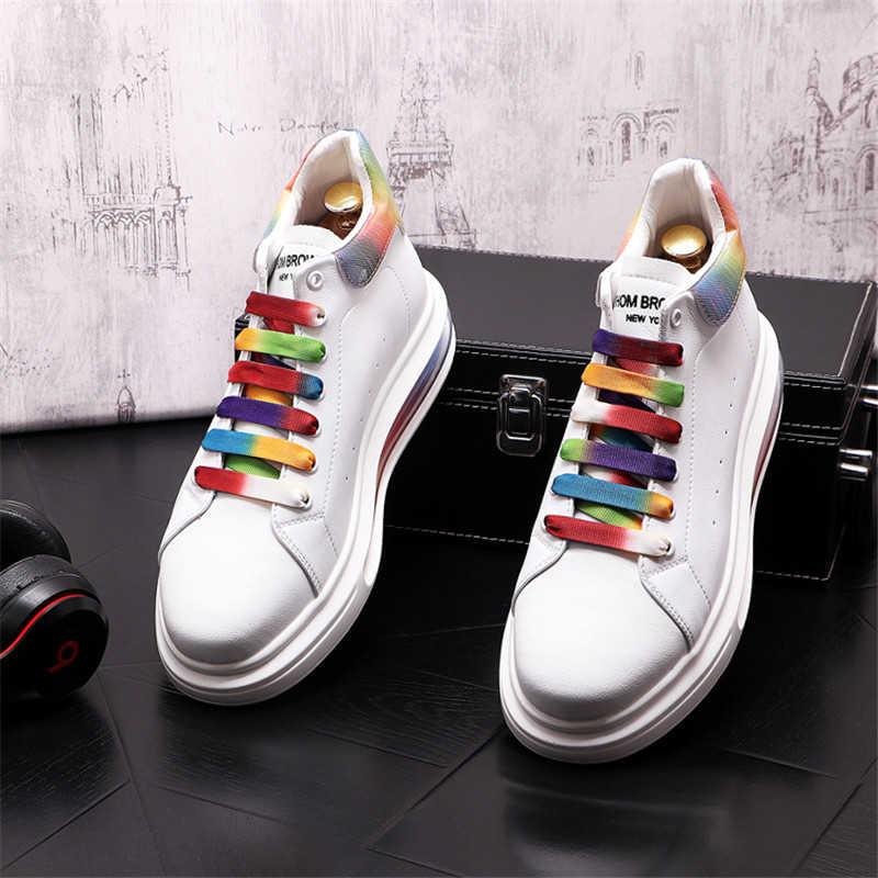 Korean Tide Air Cushion Leather Men Casual Shoes Hip Hop Sneakers High Tops Zapatillas Hombre