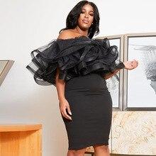 4XL 5XL Plus Size African Dresses For Women 2020 Sexy Bodycon Off Shoulder Dresses Female Ruffles Backless Elegant Club Dress