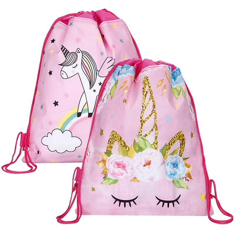 Бесплатная доставка, сумка на шнурке с единорогом для девочек, дорожная сумка для хранения, школьные рюкзаки с героями мультфильмов, Детские вечерние рюкзаки на день рождения