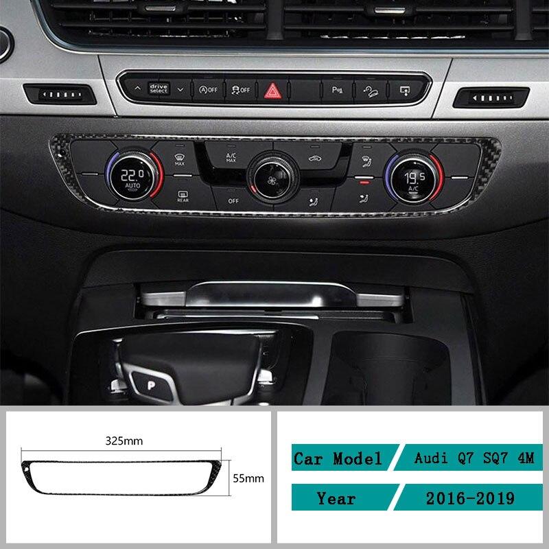 Acessórios do carro de fibra de carbono interior painel de ar condicionado decalques protetores capa guarnição adesivos para audi q7 sq7 4 m 2016-2019