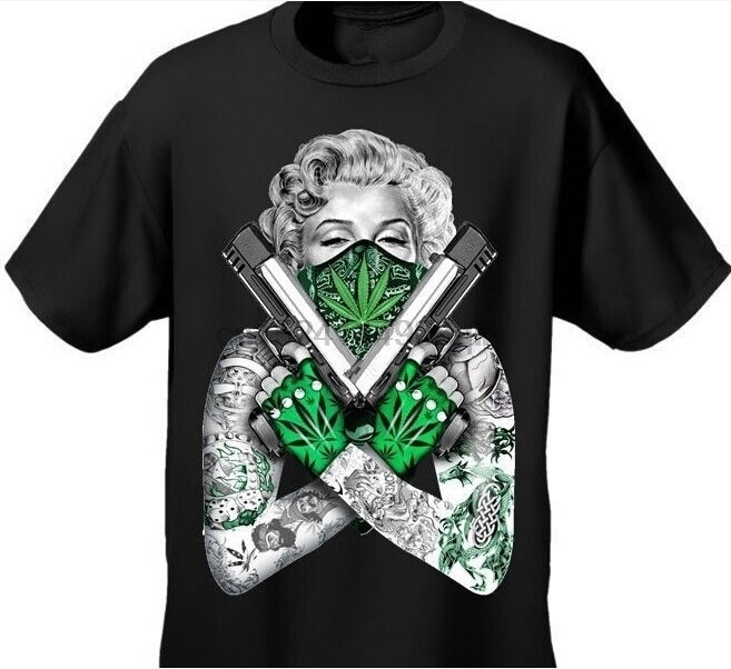 Mode hemd Ankunft Mens T-shirt Unkraut Bandana Marilyn GEKREUZTE PISTOLEN TOPF BLATT 420 TATTOOS Design Baumwolle T Für Frauen T hemd