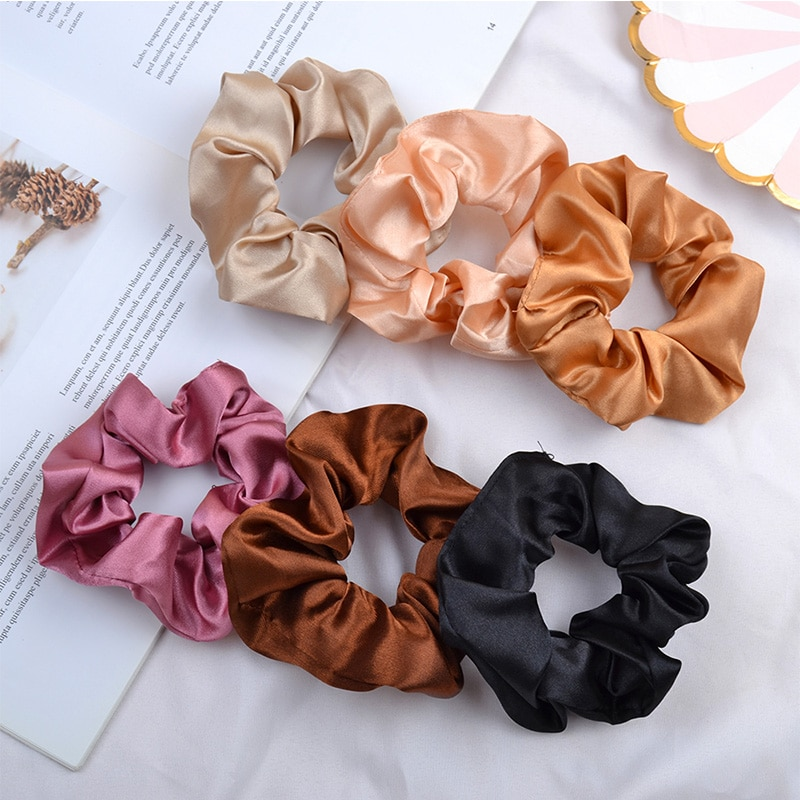 3.9 Inch Silk Scrunchie Elastic Handmade Multicolor Hair Band Ponytail Holder Solid Color Hair Ties Headband Hair Accessories