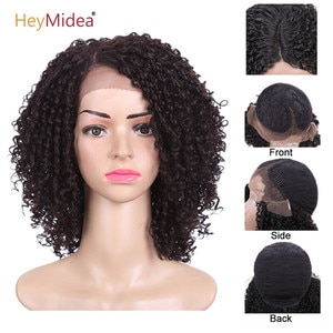 Kinky Curly Wig Synthetic Hair Afro Kinky Curly Wigs For Black Women Short Bob Lace Front Wig HeyMidea