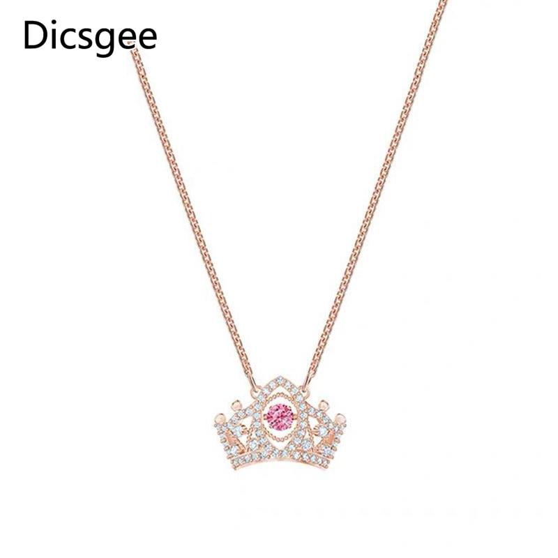 Dicsgee corona elegante colgantes encantadora repleto de circonita collar gargantilla collares de cadena pequeño colgante de cristal