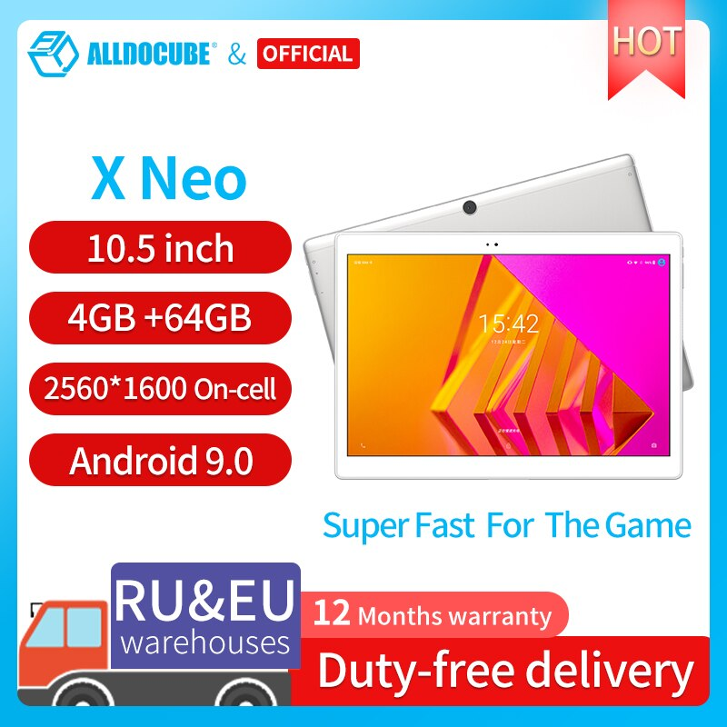 ALLDOCUBE X Neo Android 9.0 Dual 4G LTE Tablet Snapdragon 660 4GB RAM 64GB ROM 10.5 Inch Super Amoled Screen 2.5k 2560×1600 IPS