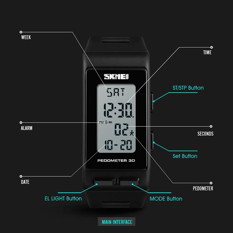 SKMEI 3D Pedometer Sport Fitness Tracker Watch Fashion Men Women Wristwatches Calories Electronic Clock Ladies Watches 1363 enlarge