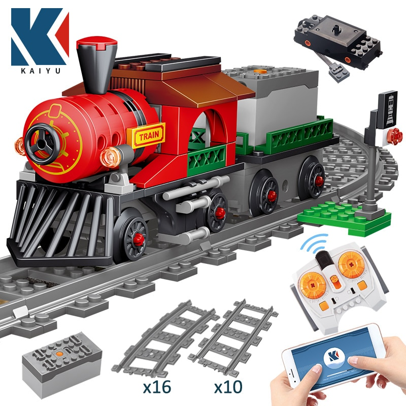KAIYU مدينة قطار كهربائي التحكم عن بعد بنة الخالق التقنية RC المسار السكك الحديدية سيارة الطوب الهدايا لعب الأطفال