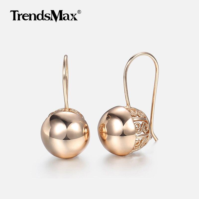 Hot Cut Out Ball Earrings For Women Girls 585 Rose Gold Woman Zircon Dangle Earrings  Wedding Party Exquisite Jewelry GE66