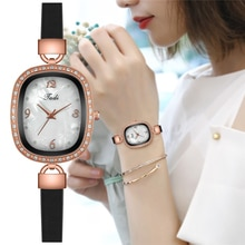 Luxury Women Oval Pearl Shell Dial Watches Fashion Leather Ladies Rhinestone Quartz Watch for Women