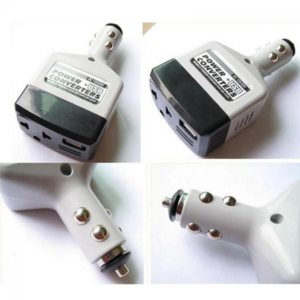 Портативный автомобильный преобразователь напряжения постоянного тока 12 В/24 В в переменный ток 220 В USB преобразователь адаптер зарядного ус...