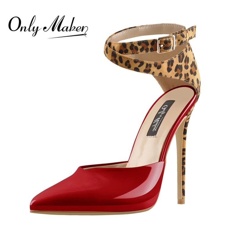Onlymaker Women's 12CM Sexy  Pointed Toe Leopard Ankle Strap Pumps High Heel Sandals For Autumn Big Size Heels