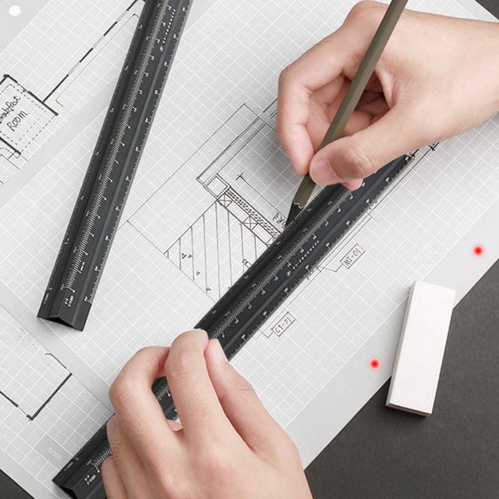 Scale Ruler Triangular Architect Engineer Scale Ruler Aluminum Alloy Scale Ruler Drafting Tools Architectural Scale Ruler-Black blel school accessories drafting tools xmas plastic triangular scale ruler students measuring tool rulers