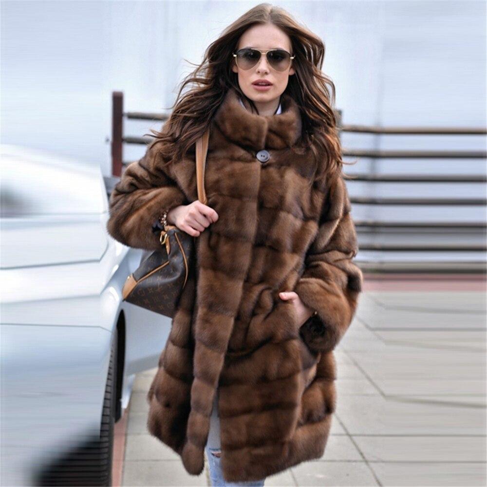 Tatyana Furclub 2021 موضة جديدة براون معطف المرأة الشتاء معطف الفرو الحقيقي المرأة معطف فرو منك الطبيعي مع الفراء طوق كامل الأكمام