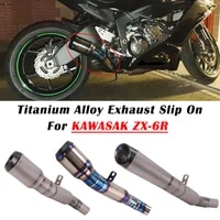 for kawasaki zx 6r zx6r 636 2009 2019 2020 2021 motorcycle exhaust escape modify titanium alloy with cotton link pipe muffler