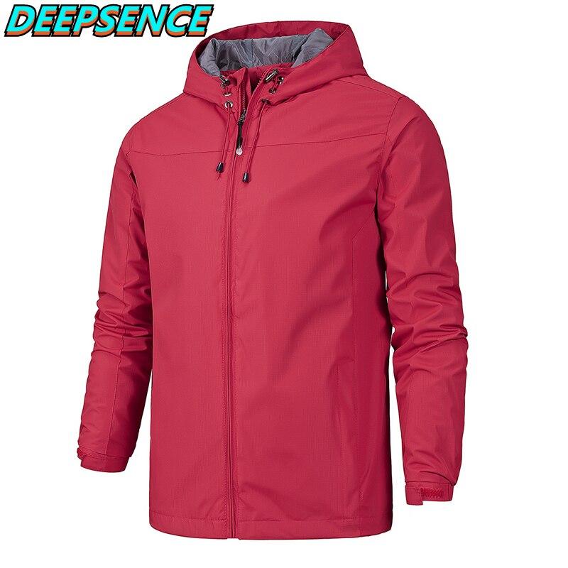 Men Spring Autumn Outdoor Casual Jacket Men Soild Hoode Metal Zipper Thin Sport Coat  Fashion Hiking