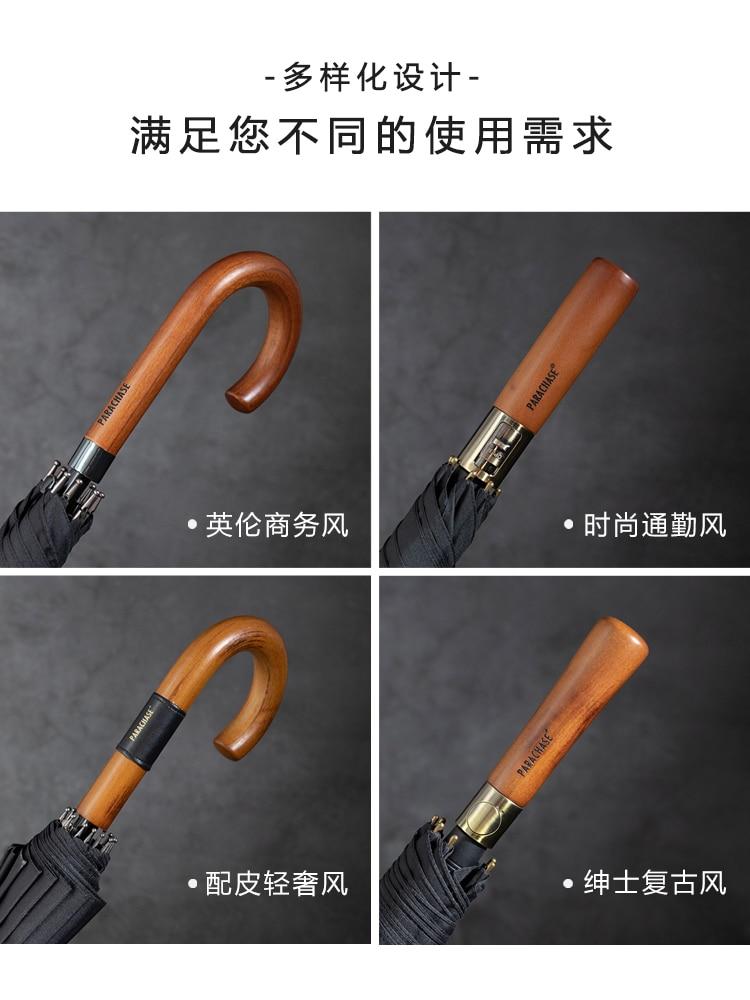 Retro Japanese Umbrellas Business Automatic Mountaineering Wooden Handle Rain Umbrella Waterproof Men Paraguas Rain Gear DF50YS enlarge