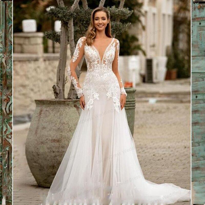 Promo Sexy Wedding Dress Deep V-Neck Mermaid Long Sleeve Princess For Women Lady Backless Custom Made Robe De Mariee Tulle Floor Leng