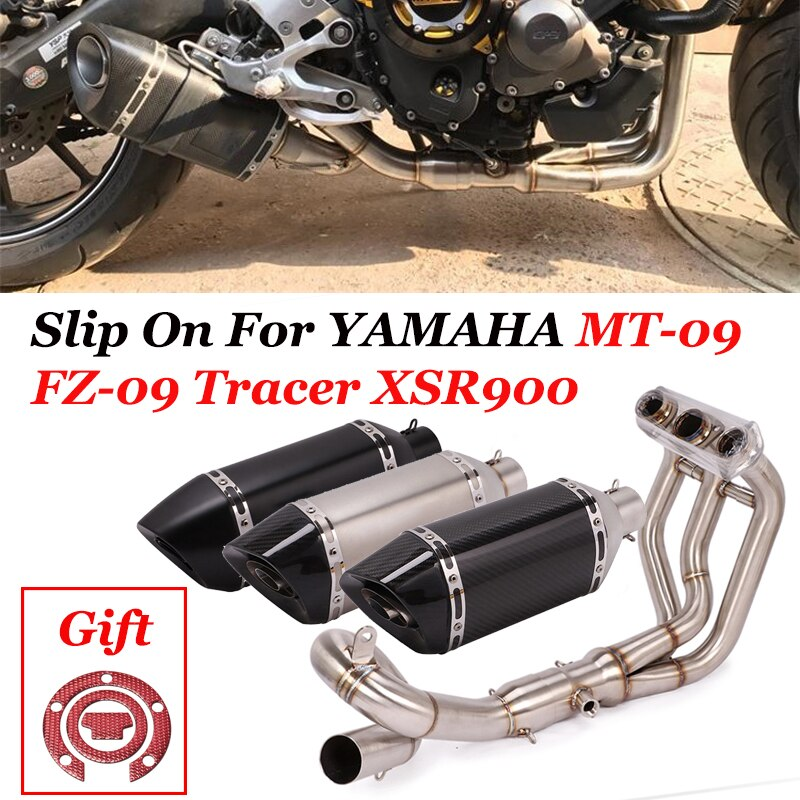 Motorcycle Full System Carbon Fiber Escape Middle Pipe Exhaust Slip On For Yamaha FZ09 MT09 MT-09 FZ-09 Tracer 900 2014 To 2020