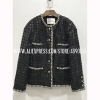 high end womens sequined woven tweed jacket four pocket decoration square cut elegant temperament shoulder pad casual suit