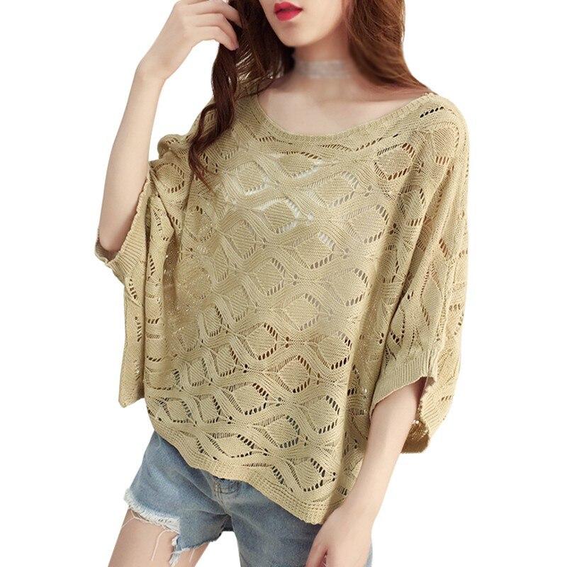 Verano Mujer estilo coreano holgadas de cuadros patrón fino de punto vestido Casual mujeres de algodón hueco sol camiseta moda exterior superior