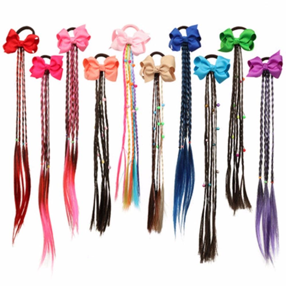 Аксессуары для волос, цветной парик бант, веревка для волос для девочек, длинные косички, банты для волос, резинка, модный детский ободок, головной убор