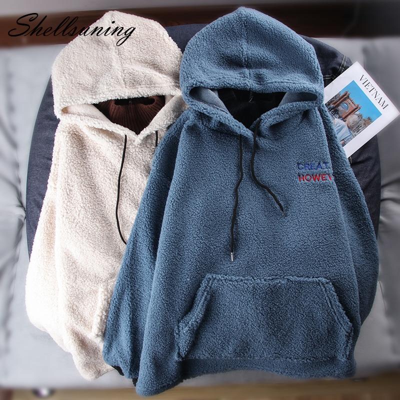 Shellsuning peludo sudaderas con capucha de las mujeres ropa de otoño invierno de lana Casual suelto jersey con bolsillo Sudadera con capucha espesar esponjosa chaqueta