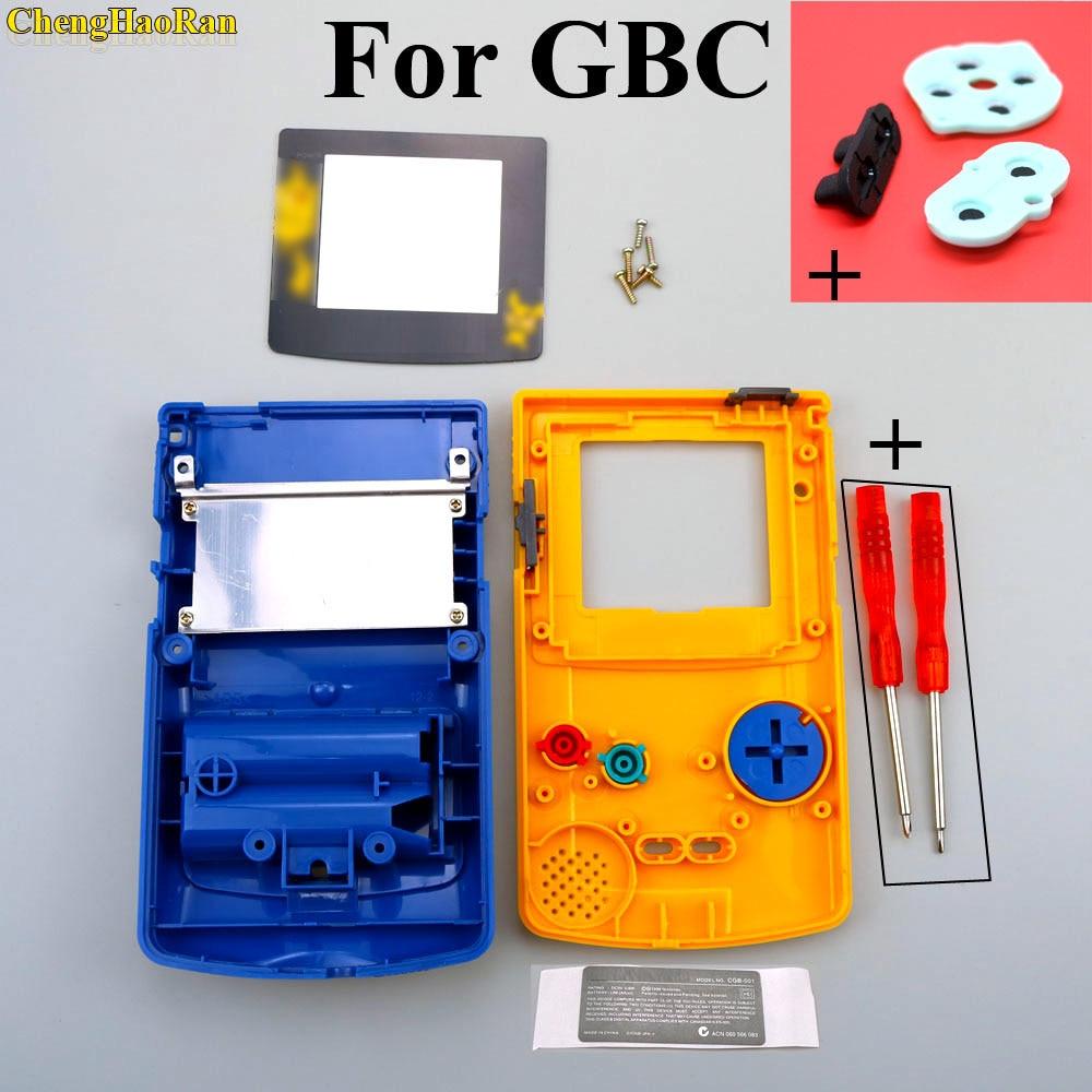 1 чехол для корпуса GBC, ограниченный желтый + синий чехол корпус чехол для GameBoy цветные с резиновыми вставками отвертки чехол
