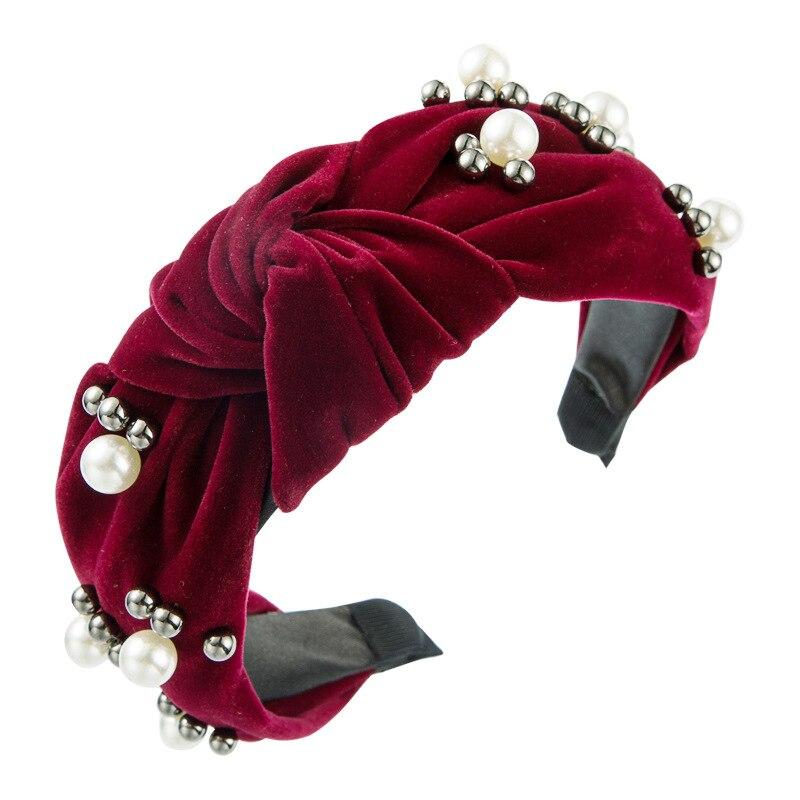 Женская повязка на голову с искусственным жемчугом, Корейская эластичная повязка на голову, модные аксессуары для волос, аксессуары для вол...
