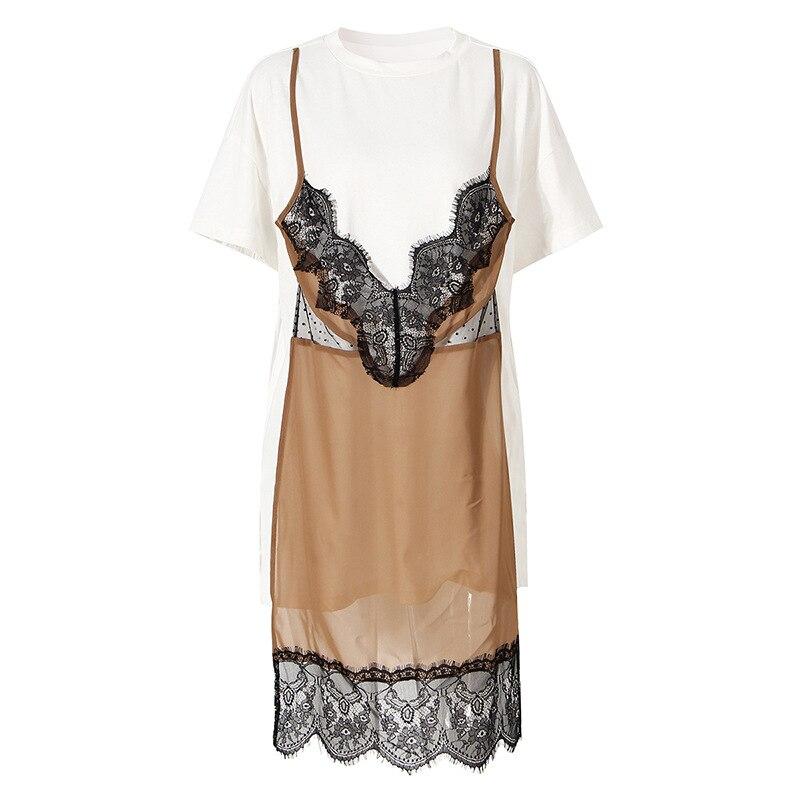 Vestidos Largos De Verano Para Mujer 2021 New French Elegant Vestido Feminino Stitching Lace Fake Two-piece Vintage  Dress