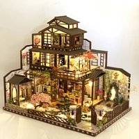 diy wooden miniature dollhouse assembled japanese large villa doll house with furniture kit toys for children birthday gifts