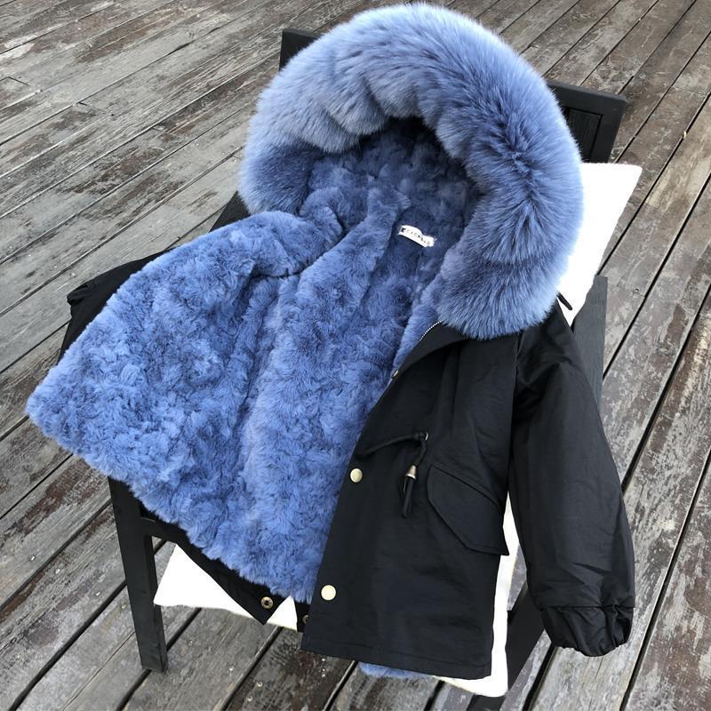 2021 الشتاء الأطفال الاطفال الفتيات والفتيان معطف مقنع ملابس خارجية فو الفراء انفصال بطانة سترة سترات في سن المراهقة الدافئة وتتسابق W214