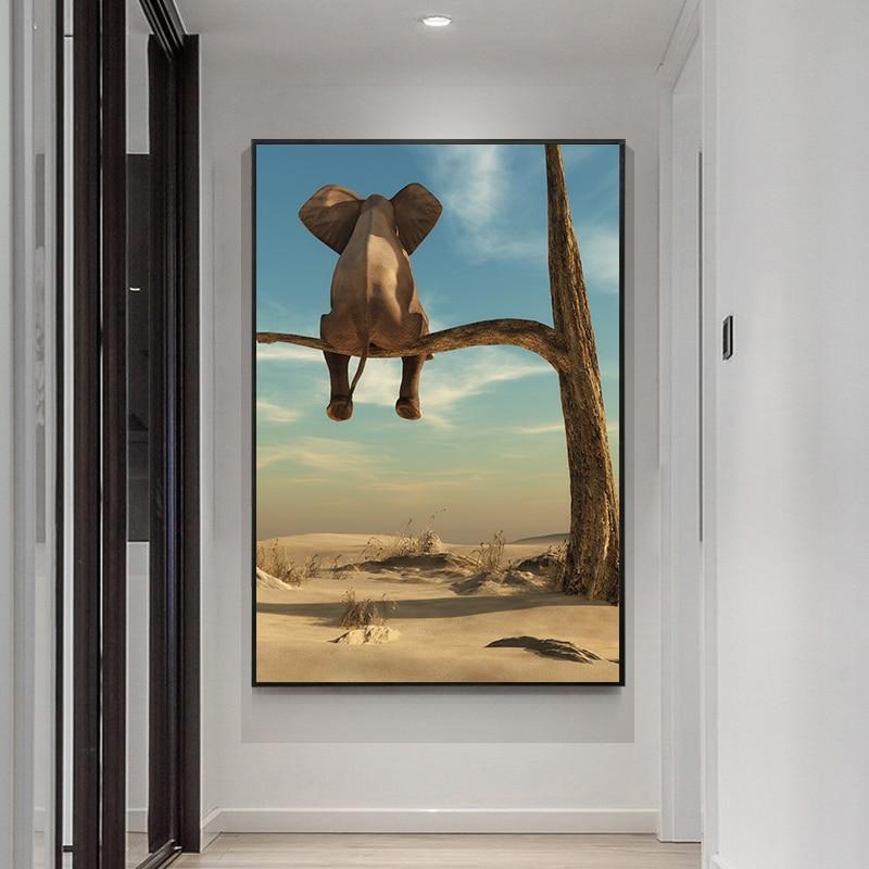 Arte divertido elefante sentado en lienzo de árbol pintura Animal para decoración de paredes fotos carteles nórdicos e impresiones para decoración para sala de estar