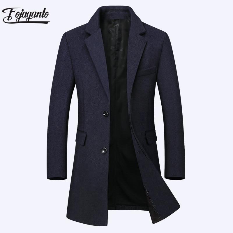 FOJAGANTO الشتاء الرجال طويلة الصوف مزيج معطف العلامة التجارية الرجال بلون دافئ معطف صوف سميك الأعمال مزيج الصوف المعتاد معطف الذكور