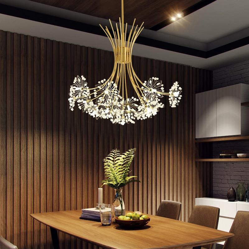 Led الهندباء كريستال الثريا الحديثة داخلي رومانسية مصابيح تعليق للزينة المعيشة غرفة الطعام غرفة نوم مطعم الديكور مصابيح