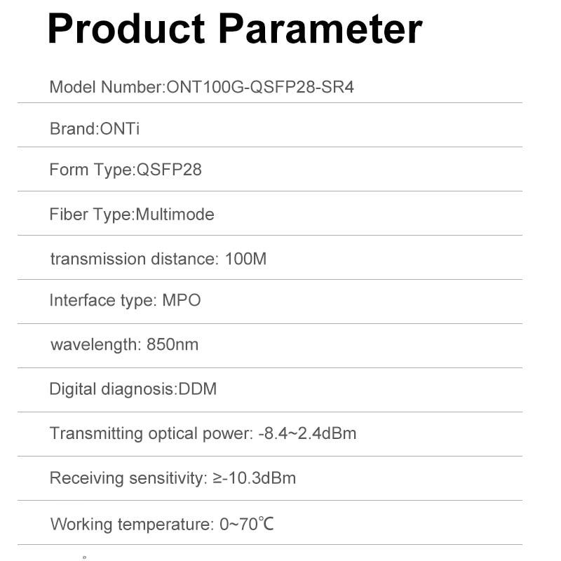 ONTi 100G QSFP28 100GBASE-SR4 QSFP28 Transceiver Module 850nm, 100m, MTP/MPO, DDM for Cisco,Huawei,MikroTik,HP,Intel...etc enlarge