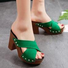 Sandales dété à talons carrés hauts pour femmes, serrure, escarpins à rivets, élégantes, chaussures à bout ouvert, collection décontracté