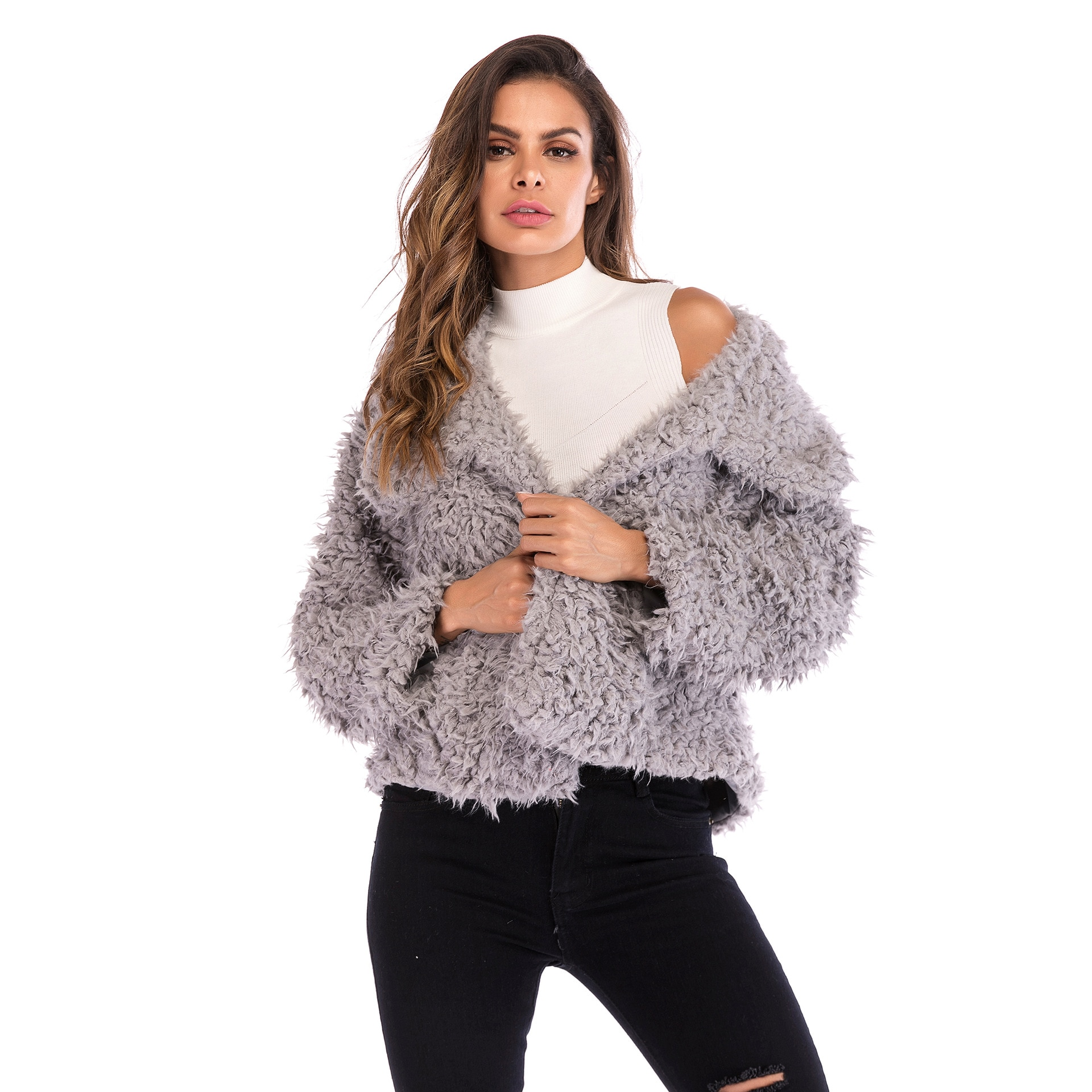 2019 invierno mujer elegante abrigo solapa suelta chaqueta de piel falsa mezcla...