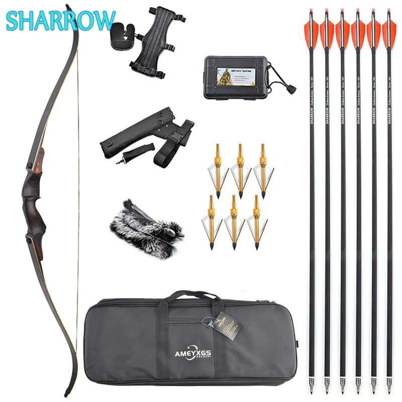60 Inch 25-60lbs Recurve Bow Set American Hunting Bow with Carbon Arrows for Outdoor Sports Archery Hunting Shooting Accessories