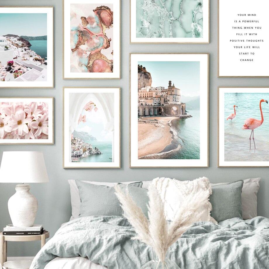 Amalfi Coast-Póster nórdico con estampado de flores, lienzo impreso decoración de pintura...