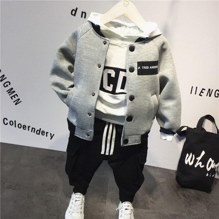 Children's suit cotton baby Baseball jacket +hoodie+pants 3pcs clothing set Autumn winter baby boys suit kids clothing set
