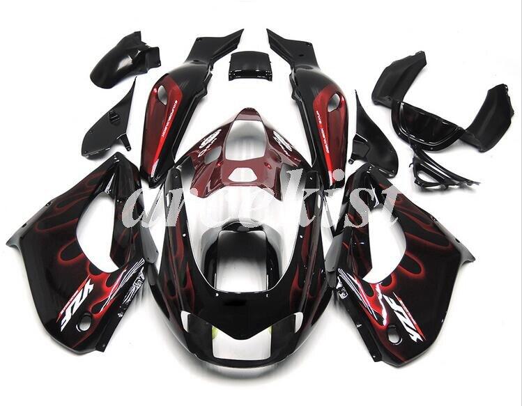 Gran oferta, YZF1000R nuevo kit de carenados ABS para Yamaha YZF 1000R Thunderace 1997-2007, carenados deportivos para motocicleta, llama roja negra