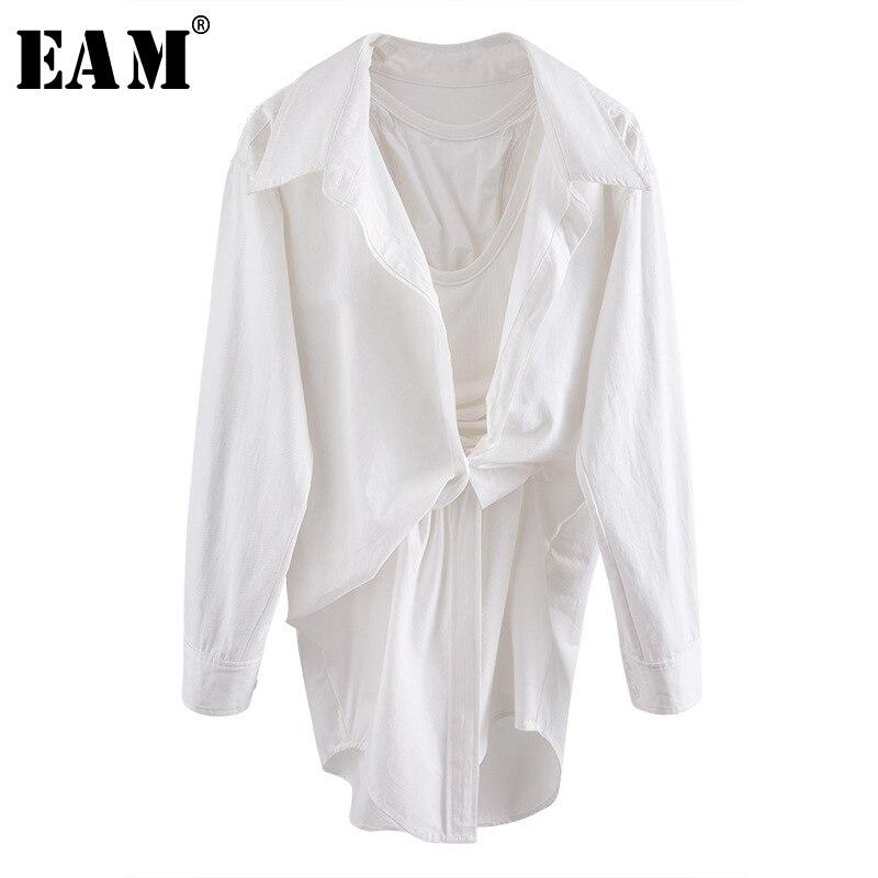 [EAM] Women White Irregular Knot Stitch Shirt Dress New V-collar Long Sleeve Loose Fit Fashion Tide Spring Summer 2020 WL96100