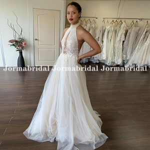 High Halter Neck Illusion Boho Wedding Dresses With Appliques Open Back Summer Beach Tulle Bridal Gowns Bohemian Dress For Women
