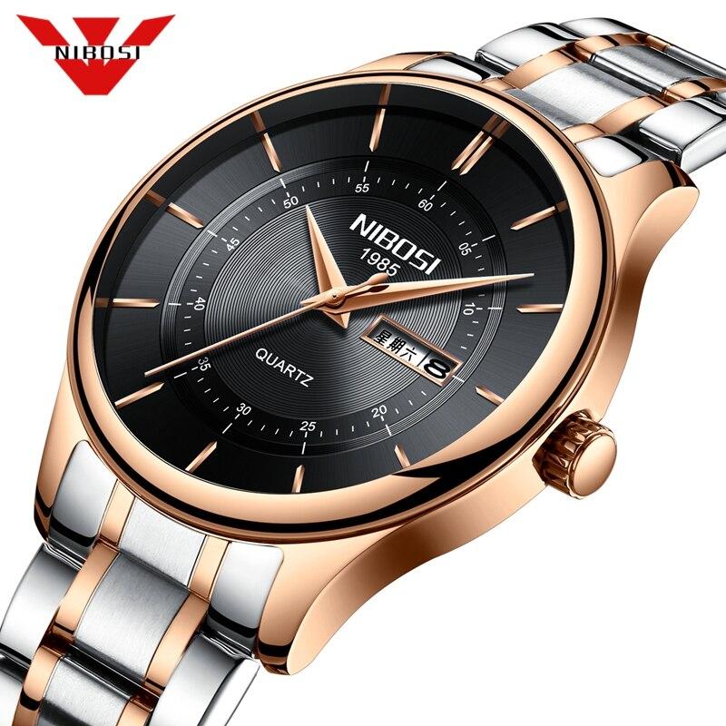 Relojes NIBOSI para hombre, reloj militar resistente al agua para hombre, cronógrafo de lujo, reloj de pulsera deportivo de cuarzo, reloj Masculino