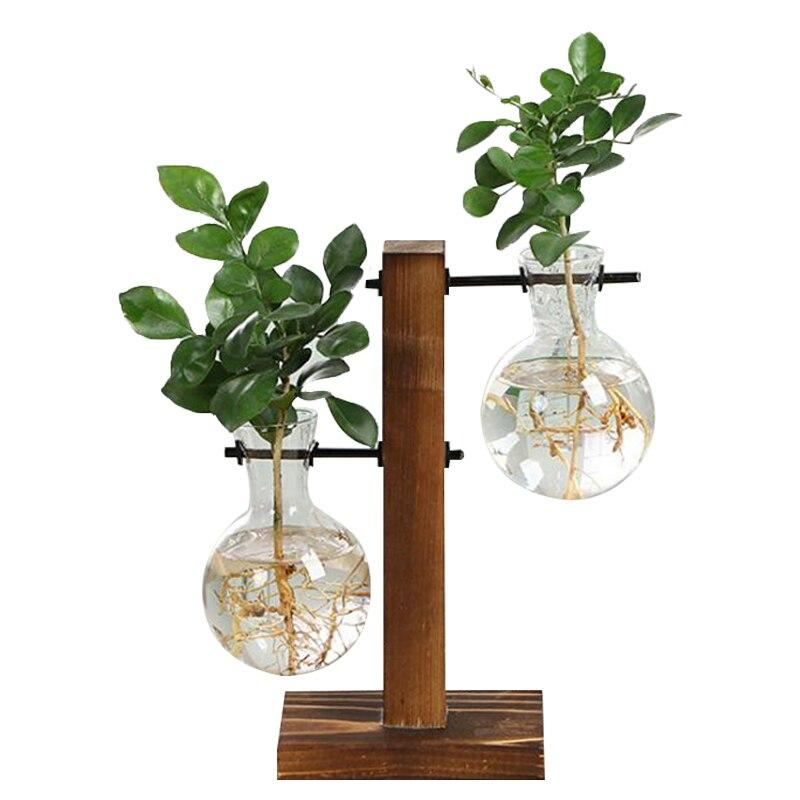 Terrario hidropónico jarrones para plantas de flor olla transparente florero de vidrio de madera de mesa plantas bonsái para el hogar Decoración
